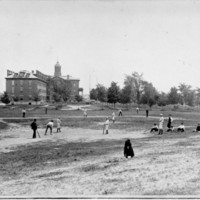 Baseball team practice on Rand Field