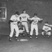 Baseball team practice in Gray Athletic Building