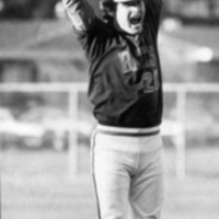 Baseball player Steve Markesich '81 celebrates